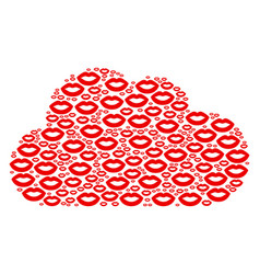 Cloud shape of sexy lips icons vector