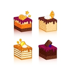 Collection of cakes pieses vector image vector image