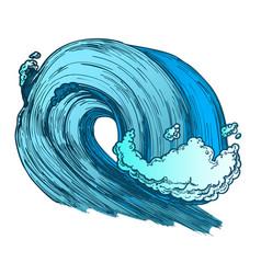 Color breaking tropical sea marine wave storm vector