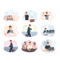 Concept everyday routine set images schedule vector