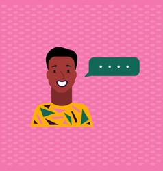Cute avatar smiling sun-tanned man in a fun t vector