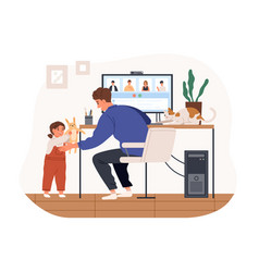 cute female kid and cat distracting father from vector image