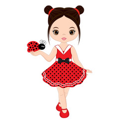 cute little girl with ladybug vector image