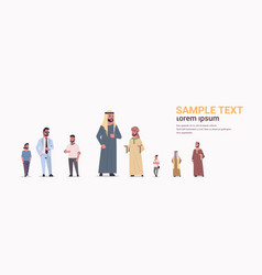 Different arabic men group standing together arab vector