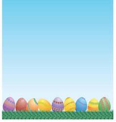easter eggs grass and sky vector image