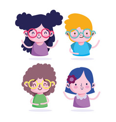 education online students boys and girls cartoon vector image