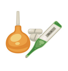 enema and thermometer pills isolated objects vector image