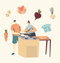 Family prepare dinner with fresh products on table vector