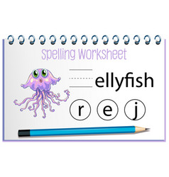 find missing letter with jellyfish vector image