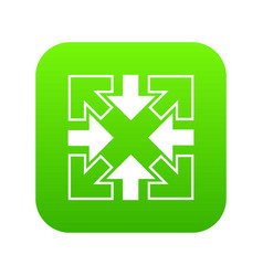 full screen arrows icon green vector image