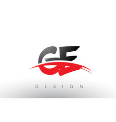 Ge g e brush logo letters with red and black vector