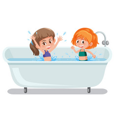 Girls playing in bathtub vector