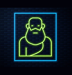 Glowing neon line socrates icon isolated on brick vector
