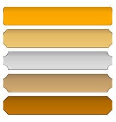 Gold silver bronze metal plaques plaquettes plates vector