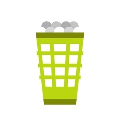 Green basket with golf balls flat icon vector image