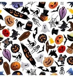 Halloween cartoon seamless pattern background vector