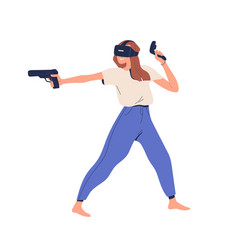 Happy person in vr glasses playing virtual game vector