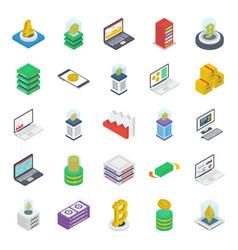 internet money isometric icons pack vector image