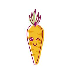 Kawaii cute funny carrot vegetable vector
