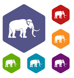 Mammoth icons hexahedron vector