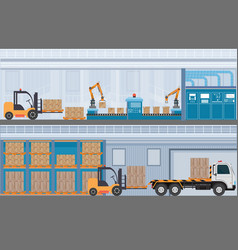 manufacturing warehouse conveyor modern assembly vector image