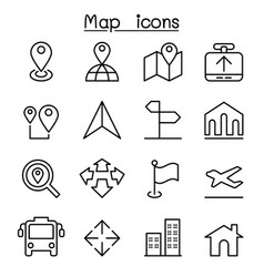map icon in thin line style vector image