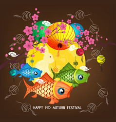 Mid autumn carp lantern festival blossom vector