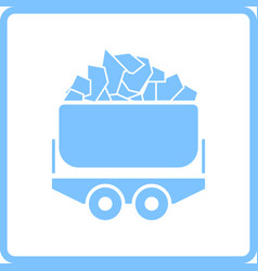 Mine coal trolley icon vector