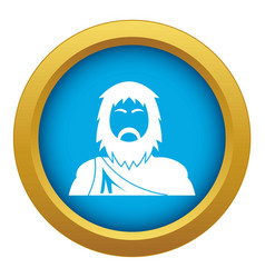 Neanderthal icon blue isolated vector