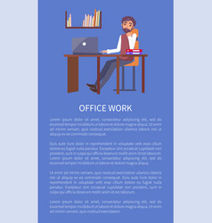 office work banner text sample and man workplace vector image