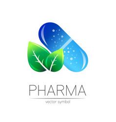 Pharmacy symbol with green leaf vector