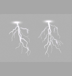 realistic lighting thunderstorm isolated on light vector image