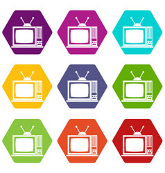 retro tv icon set color hexahedron vector image