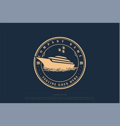 retro vintage yacht ship boat badge emblem logo vector image