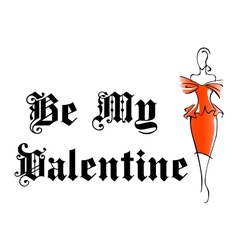 Retro woman with my valentine design vector