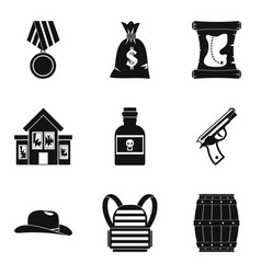 robbery icons set simple style vector image