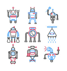 Robots graphic blue collection on white vector