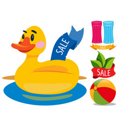 sale duckling swimming ring swimming mattress vector image