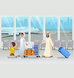 saudi arabia tourists in airport cartoon vector image