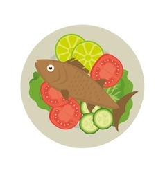 seafood fish plate vector image