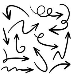 set hand drawn arrows doodle design vector image