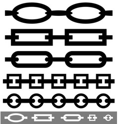 set of 4 repeatable chain chain link shapes vector image