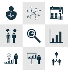 Set of 9 management icons includes group vector