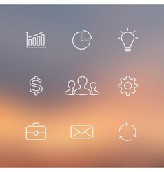 Set of flat line business icons Blur vector image