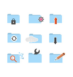 set of folder computing icon vector image