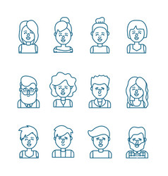 set people head with hairstyle design vector image