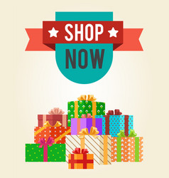 Shop now best hot price promo label with ribbon vector