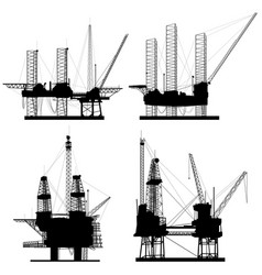 silhouettes of units for oil industry vector image