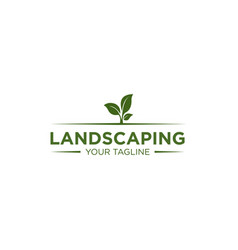 Simple landscaping logo design template vector