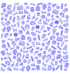 sketch icons on a school theme on a blue vector image